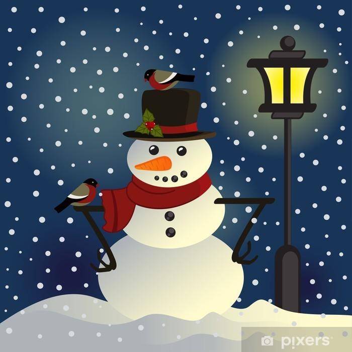 Plakat Bałwan pod latarnią - ilustracji wektorowych, eps - Święta międzynarodowe