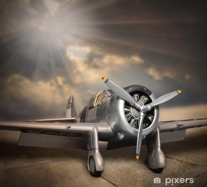 Retrotyylinen kuva ilma-alustasta. Pixerstick tarra -