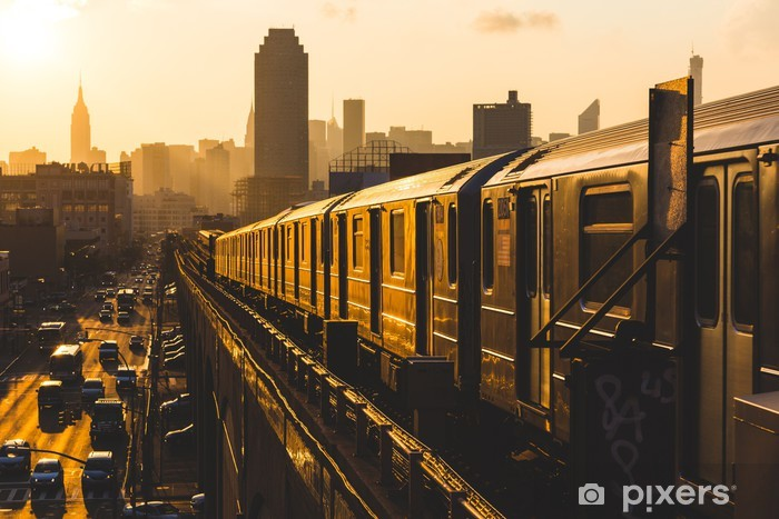 Subway Train in New York at Sunset Vinyl Wall Mural - Styles