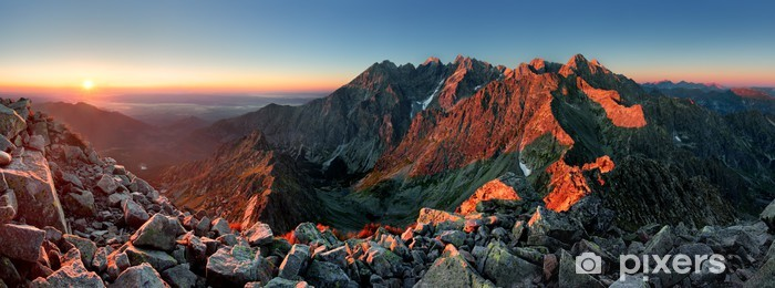 Mountain sunset panorama from peak - Slovakia Tatras Vinyl Wall Mural - Themes