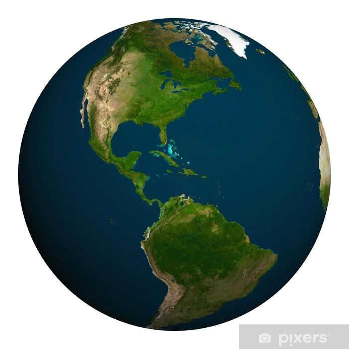 Poster Planète terre. Amérique du Nord et du Sud. - Espace