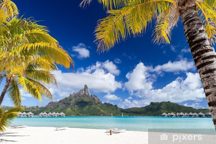 Fototapeta winylowa Polinezyjskie wyspy z palmami i białej plaży w tle - Wakacje