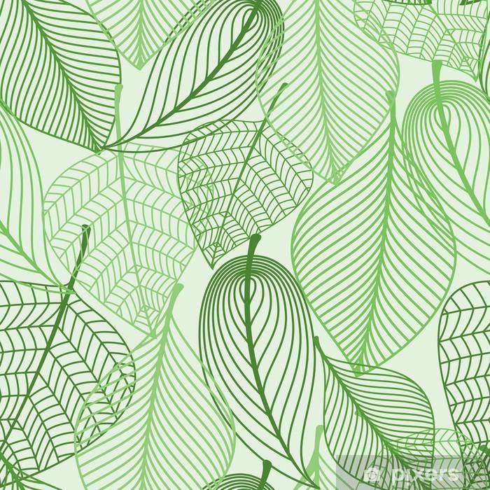 Carta da Parati in Vinile Foglie verdi sfondo seamless - Stili