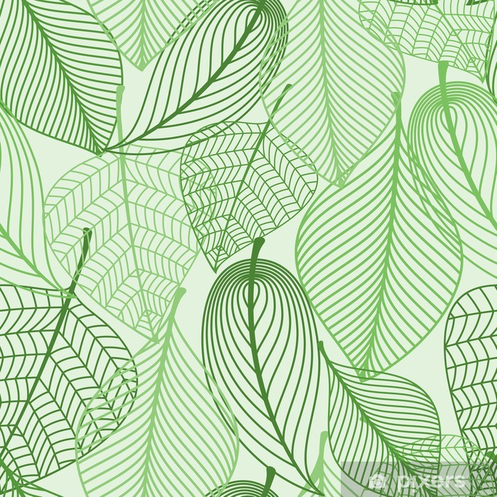 Green leaves seamless pattern background Vinyl Wall Mural - Styles