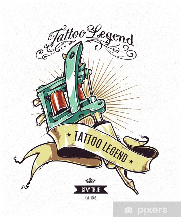 Naklejka Pixerstick Legenda Tattoo plakat - Tekstury