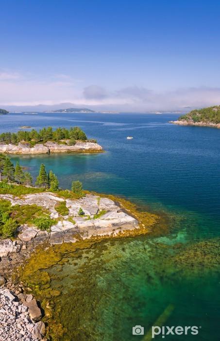 Naklejka Pixerstick Widok pionowy pięknym norweski fiord - Europa