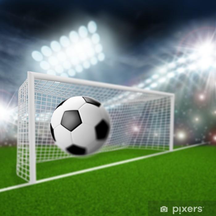 Poster Ballon de football vole dans le but - Articles de sport