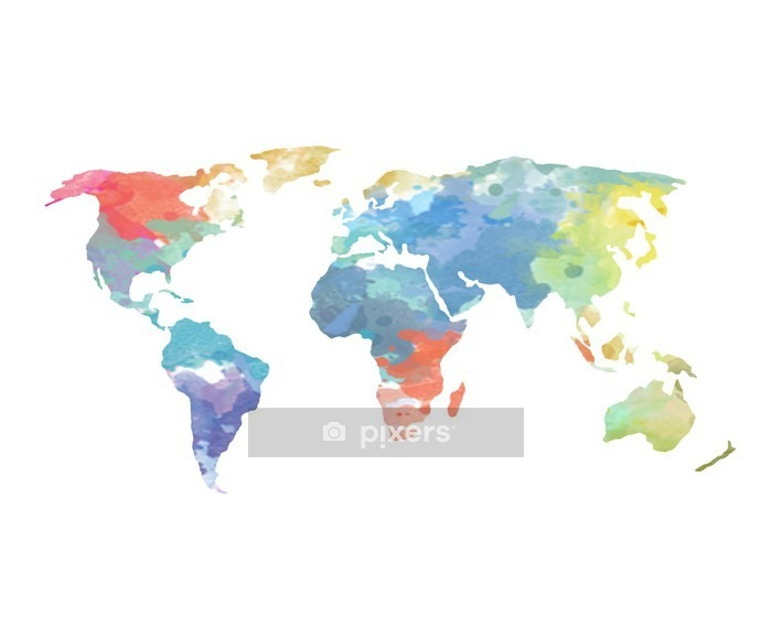 Watercolor World Map Poster Wall Decal - Wall decals