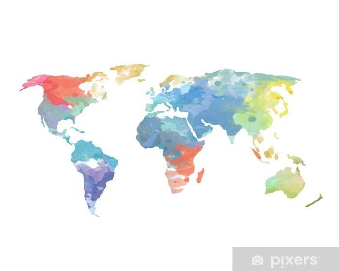 Vinyl Fotobehang Aquarel World Map Poster - Muursticker