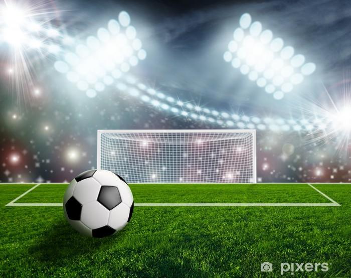Soccer ball on green stadium arena Vinyl Wall Mural - Success and Achievement