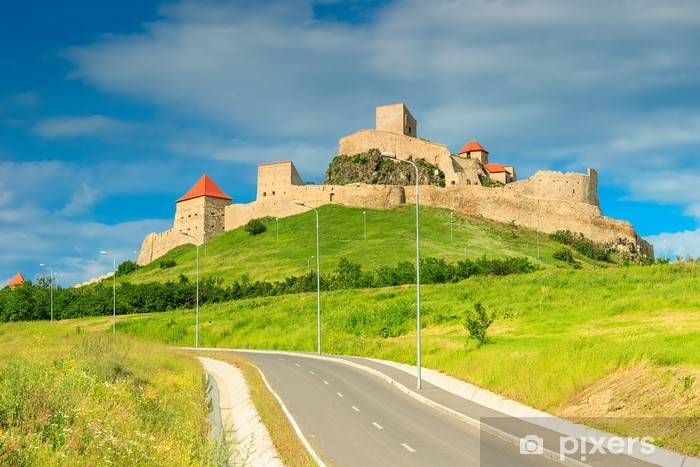 Rupea linnoitus, linnoitus kukkulalla, brasov, romania, eurooppa Pixerstick tarra - Julkiset Rakennukset