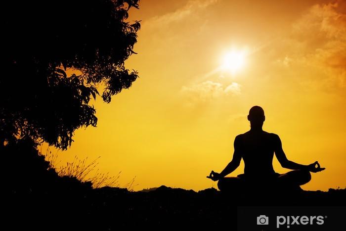 Pixerstick Sticker Yoga meditatie silhouet - Azië