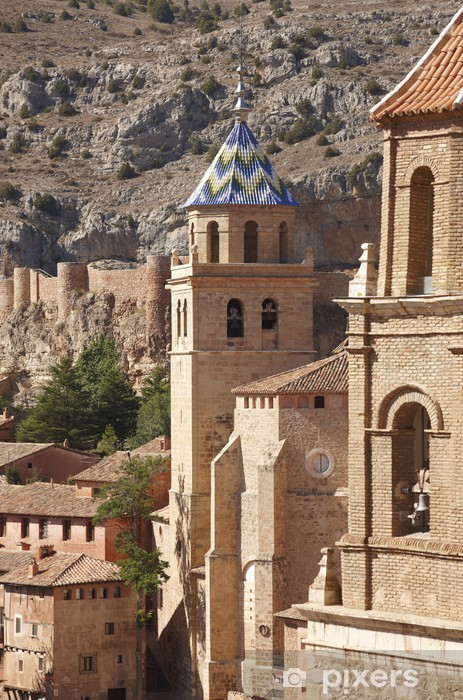 Picturesque town in Spain. Cathedral and ancient fortress. Albar Pixerstick Sticker - Europe
