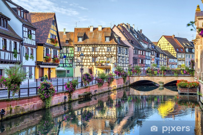 Colorful traditional french houses in Colmar Pixerstick Sticker - Themes
