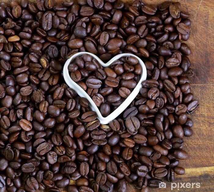 Carta Da Parati Sfondo Di Chicchi Di Caffè Con Un Cuore Bianco