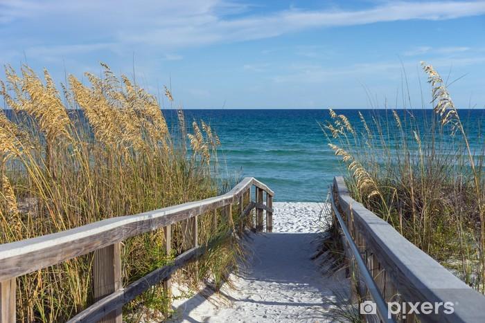 Sticker Pixerstick Promenade sur la plage avec des dunes et de l'avoine de sable - Thèmes