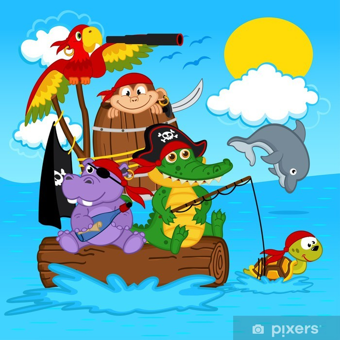 Papier peint vinyle Animaux pirates - illustration vectorielle, eps -