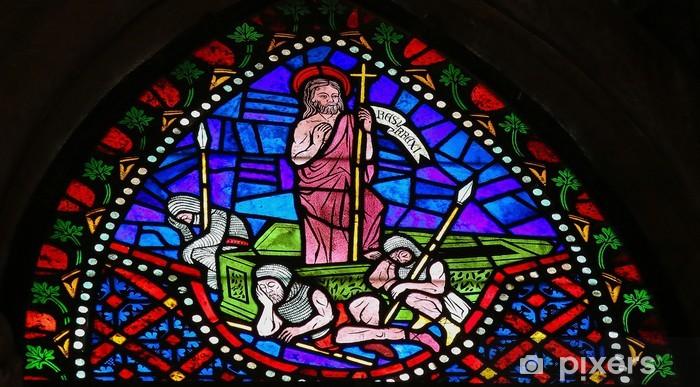 Naklejka Pixerstick Jezus wstał z grobu - Witraż - Święta międzynarodowe