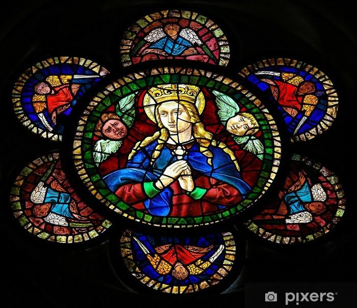 Plakát Matka Mary - vitráže v katedrále Leon - Náboženství