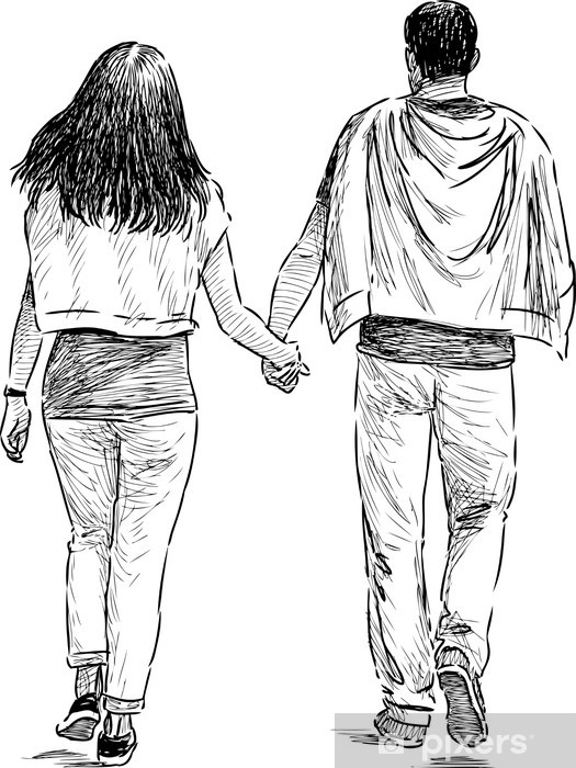 Papier peint vinyle Young couple - Couples