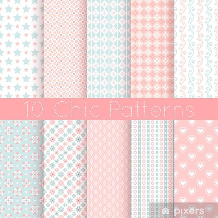 Poster Chic vecteur différent seamless patterns. Rose, blanc et bleu - Mode
