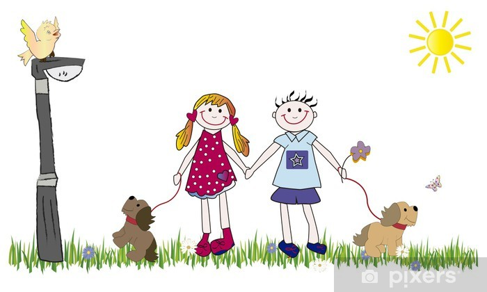 Papier peint vinyle Pareja de niños, perros y farola - Enfants