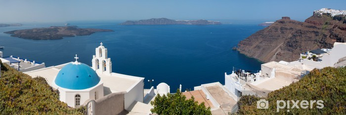 Naklejka Pixerstick Panorama kościoła w Santorini - Wakacje