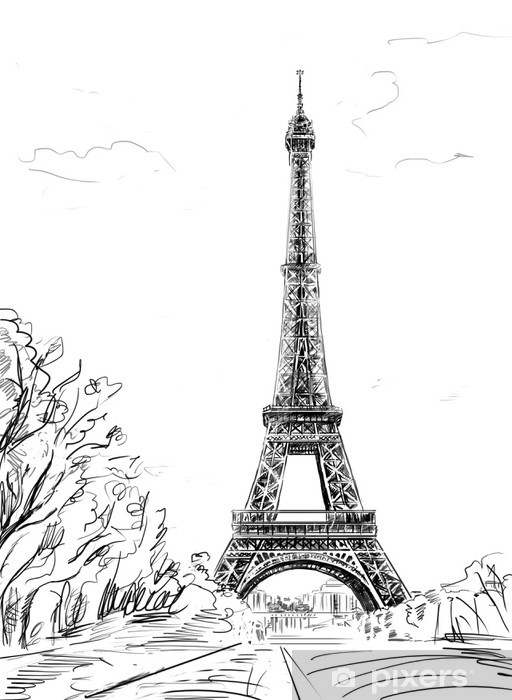 Street in paris. Eiffel tower -sketch illustration Vinyl Wall Mural - Themes