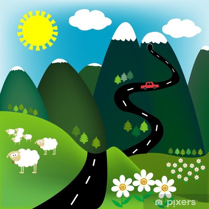 Papier peint vinyle Paysage d'été à la montagne - Montagne