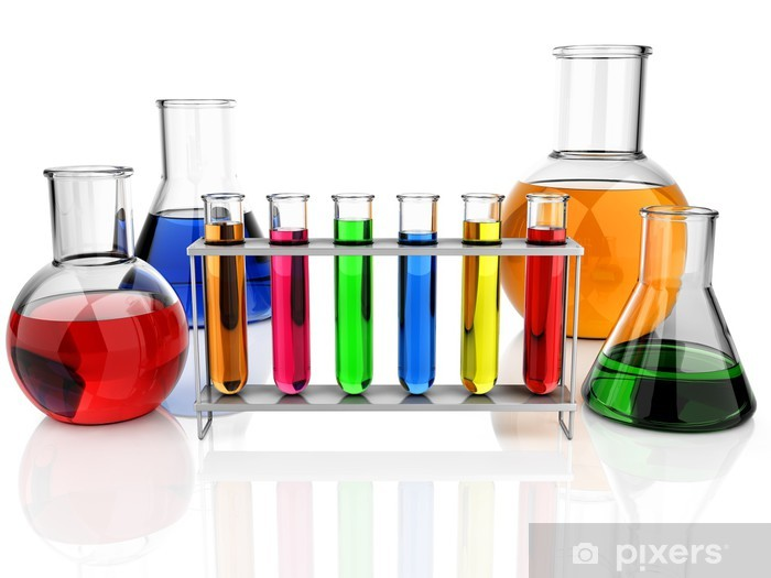 Aufkleber Reagenzgläser Und Laborglas Isoliert Pixerstick