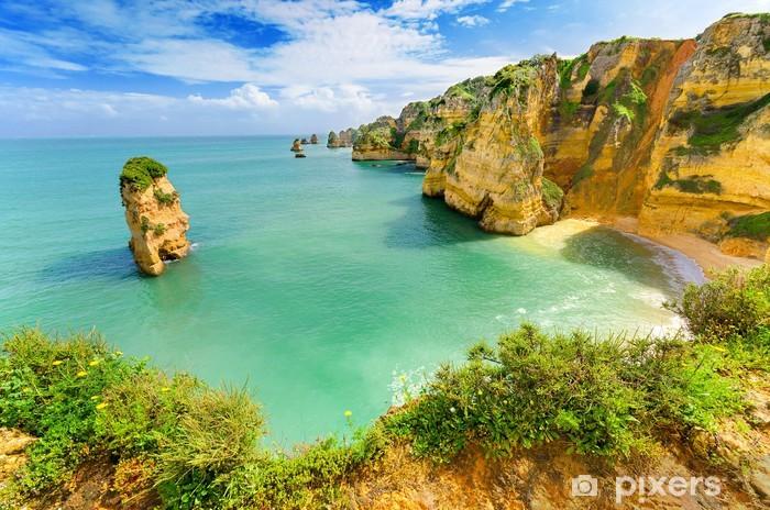 Vinilo Pixerstick Paisaje idílico playa en Lagos, Algarve, (Portugal) - Temas