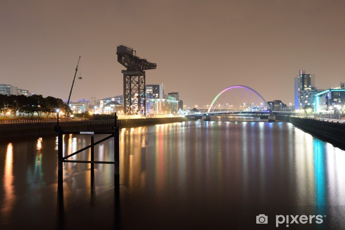 Glasgow Szkocja Scotland Clyde Arc Finnieston Crane Bridge Pixerstick Sticker - Urban