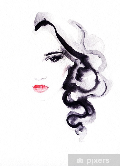 woman portrait .abstract watercolor .fashion background Vinyl Wall Mural - Women