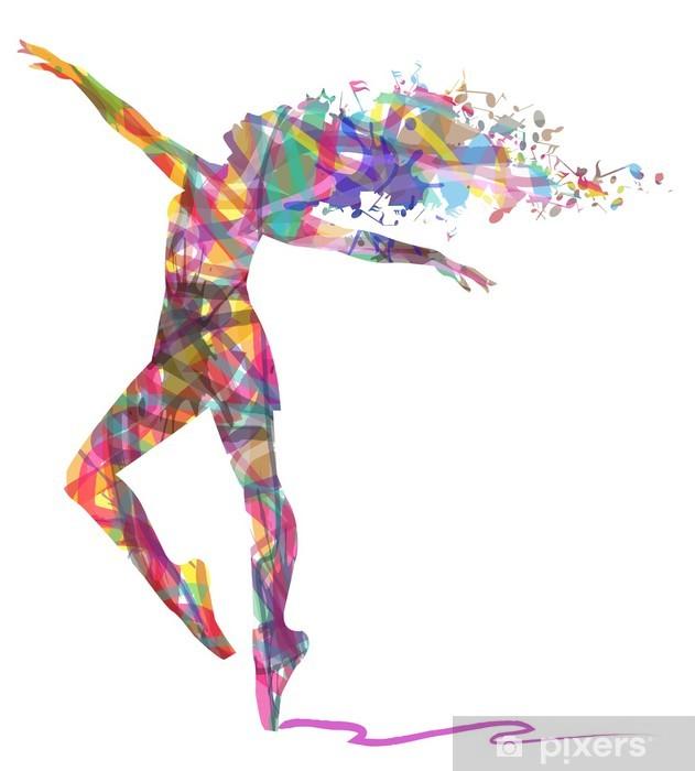 Fotomural Estándar Silueta de la bailarina compone de colores - Recursos gráficos