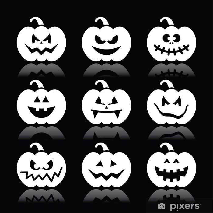 Halloween Pumpkin Vector.Halloween Pumpkin Vector Icons Set On Black Background Sticker Pixerstick