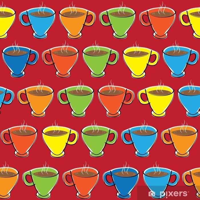 Naklejka Pixerstick Filiżanka kawy bez szwu wzór - Tła