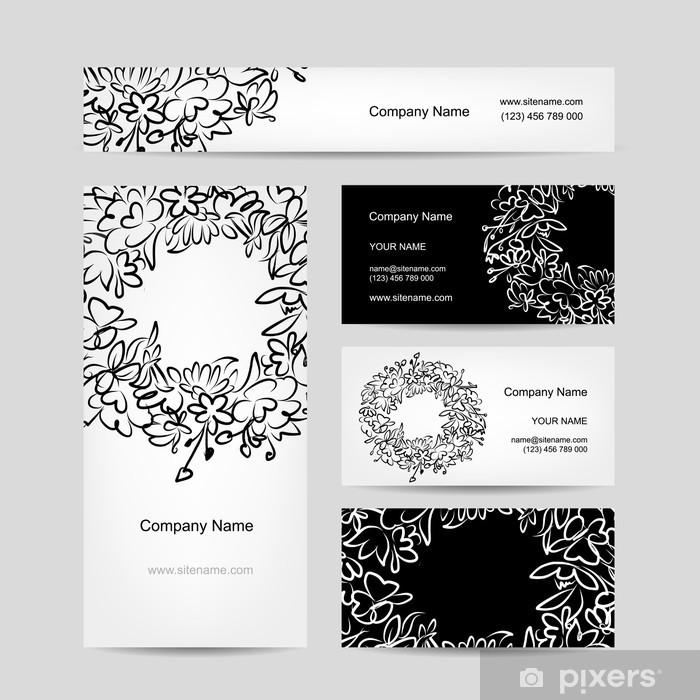 Aufkleber Visitenkarten Auflistung Blumenkranz Design Pixerstick