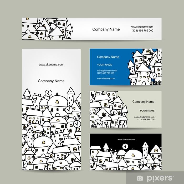 Aufkleber Visitenkarten Design Winter Stadtskizze Pixerstick