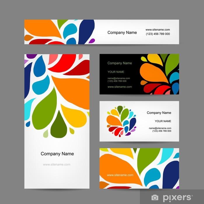 Aufkleber Set Von Abstrakten Kreative Visitenkarten Design Pixerstick
