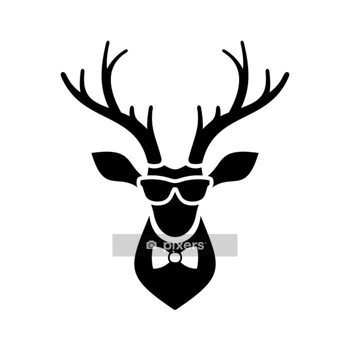 Muursticker Deer Head icoon met Hipster Zonnebril en Tie Bow. vector Logo - Tekens en Symbolen