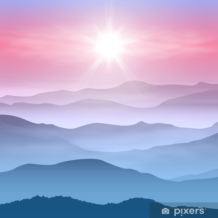 Carta da Parati in Vinile Contesto di sole e le montagne nella nebbia - Montagne