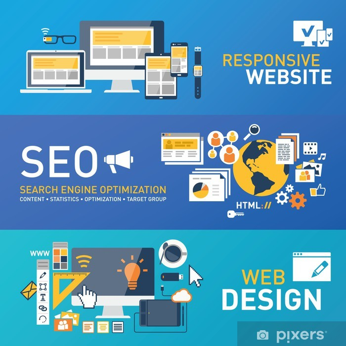 Poster Responsive - seo - webdesign - Tekens en Symbolen