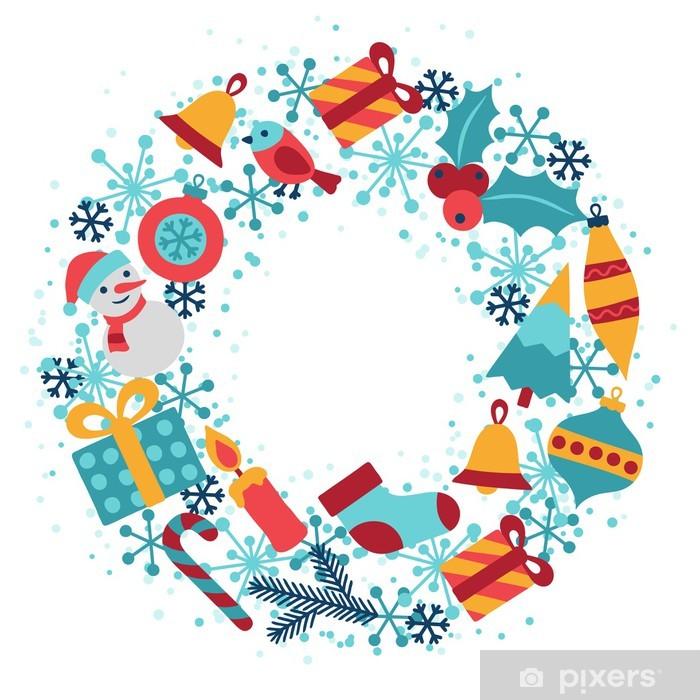 Frohe Weihnachten Aufkleber.Aufkleber Frohe Weihnachten Und Happy New Year Einladungskarte Pixerstick