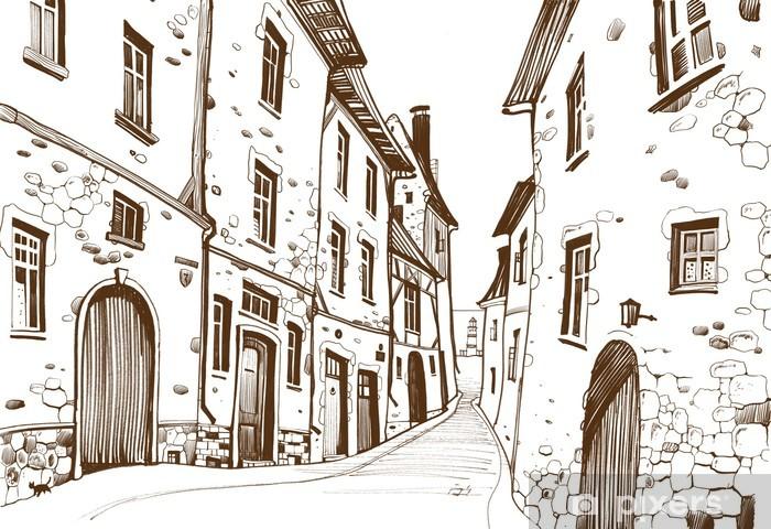 Fototapeta winylowa Rysunek odręczny, ukazując wąską ulicę europejski - Europa