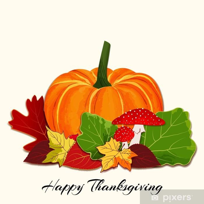 Papier peint vinyle Colorful Autumn Leaf avec le fond de potiron - Fêtes internationales