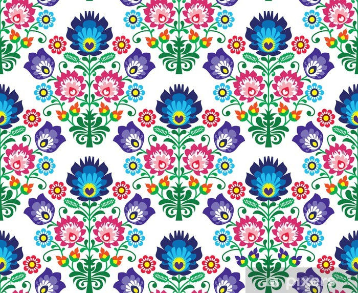 Seamless Polish, Slavic folk art floral pattern - wzory lowickie Table & Desk Veneer -