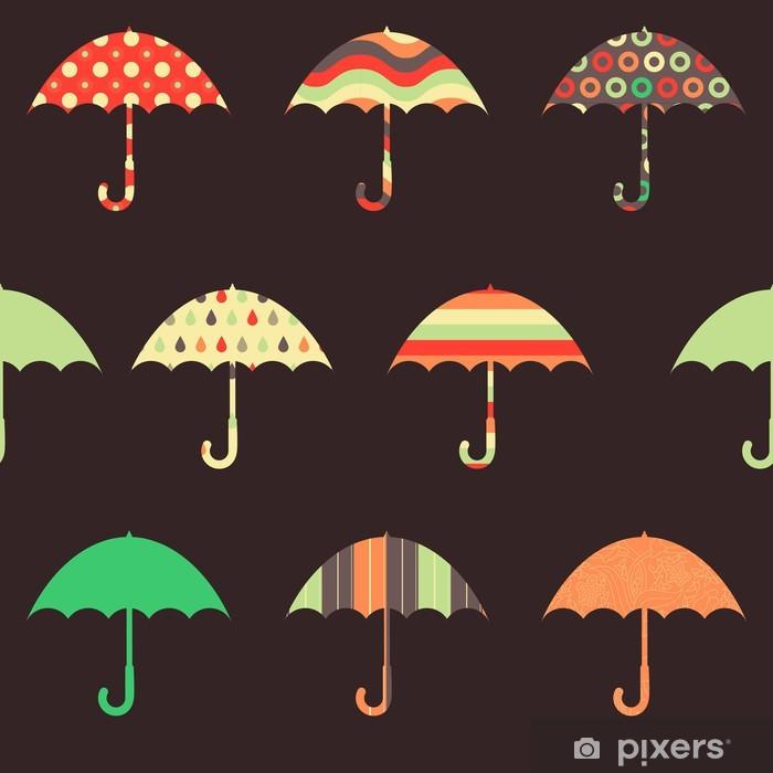 Pixerstick Aufkleber Hübsche Regenschirme Seamless Pattern - Jahreszeiten