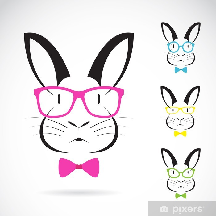 Vector image of a rabbits wear glasses Vinyl Wall Mural - Fashion