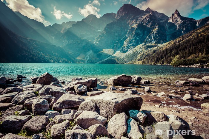 Carta da Parati in Vinile Verde lago di montagna acqua Morskie Oko, Monti Tatra, in Polonia - Temi