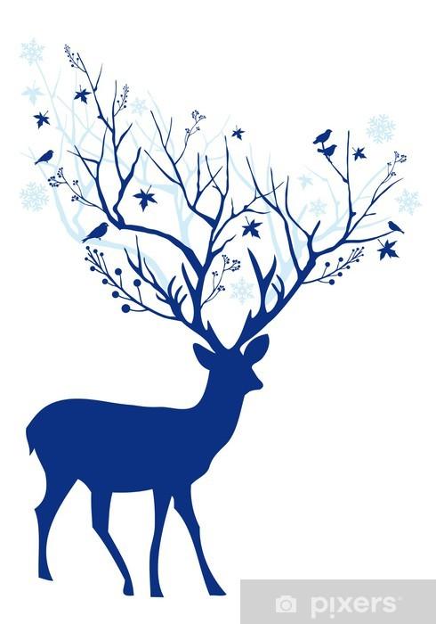 Fototapeta vinylová Modrý vánoční jelen 0ba9c54b4e